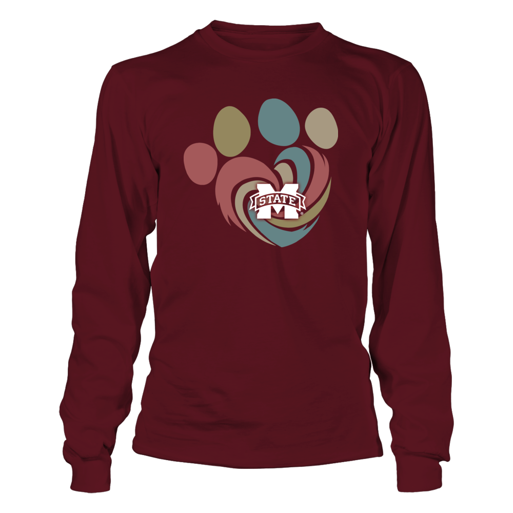 Mississippi State Bulldogs  - Hurricane Heart Paw - Retro Style Front picture