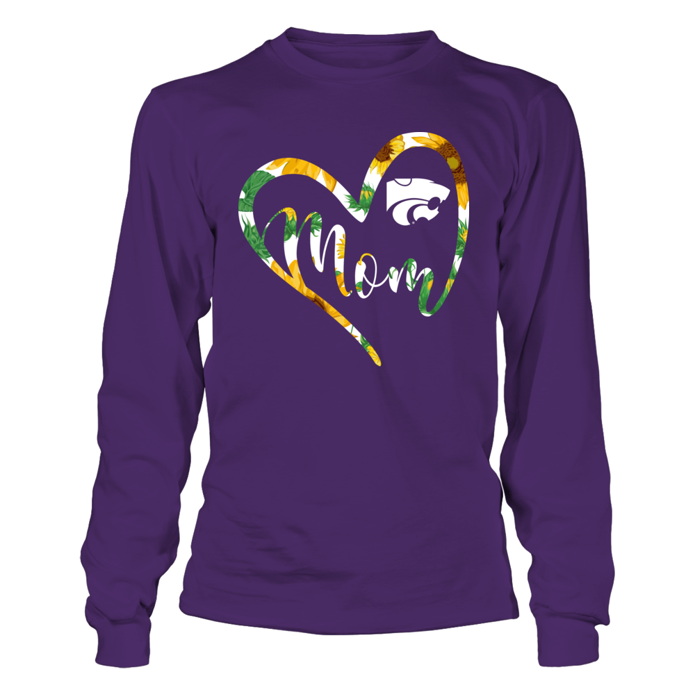 Kansas State Wildcats - Heart Mom - Sunflower Pattern Front picture