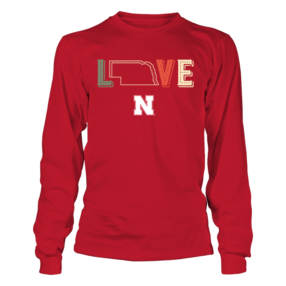 Nebraska Cornhuskers - Love My Team - State Map - Vintage Style Front picture