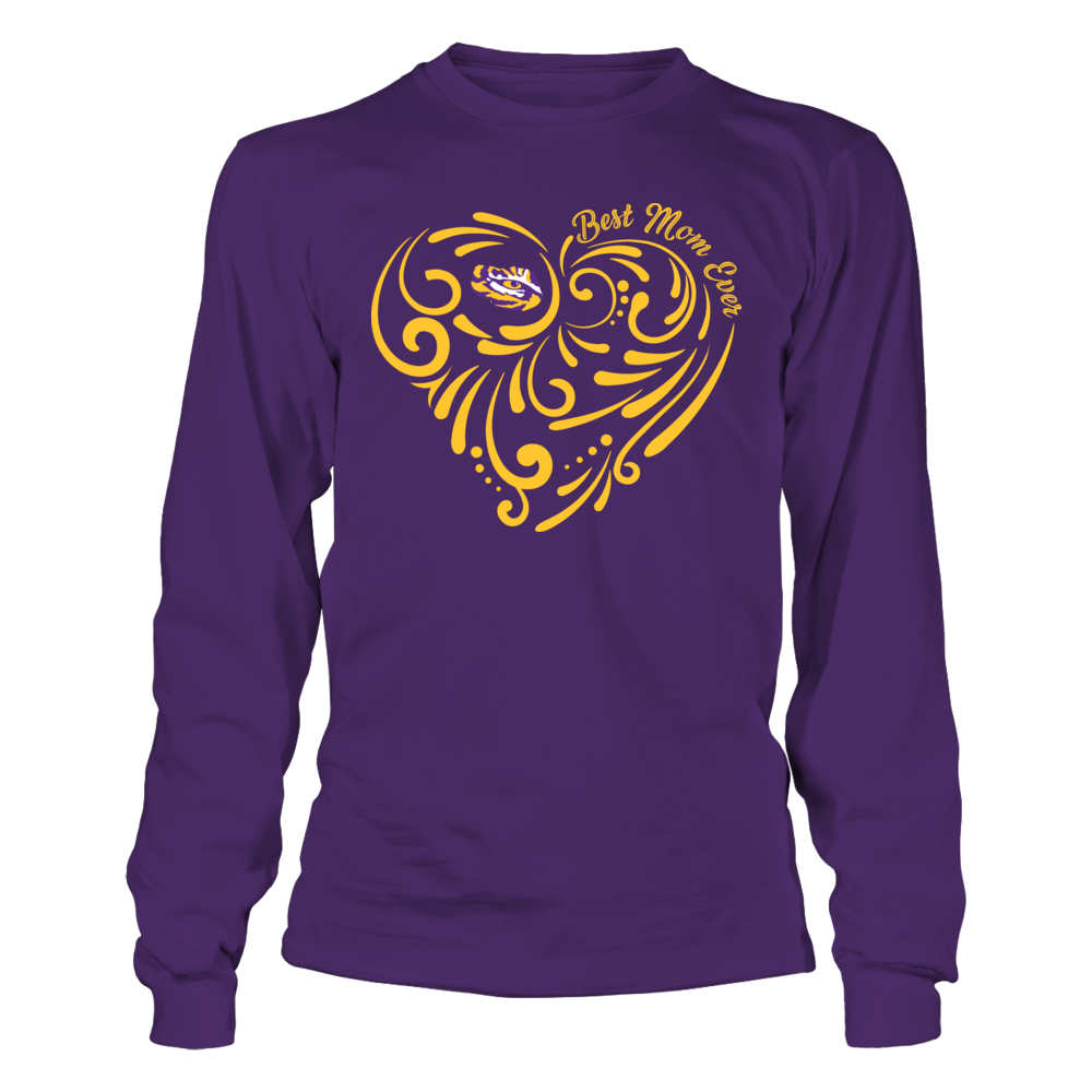 LSU Tigers - Best Mom Ever Swirl Heart Front picture
