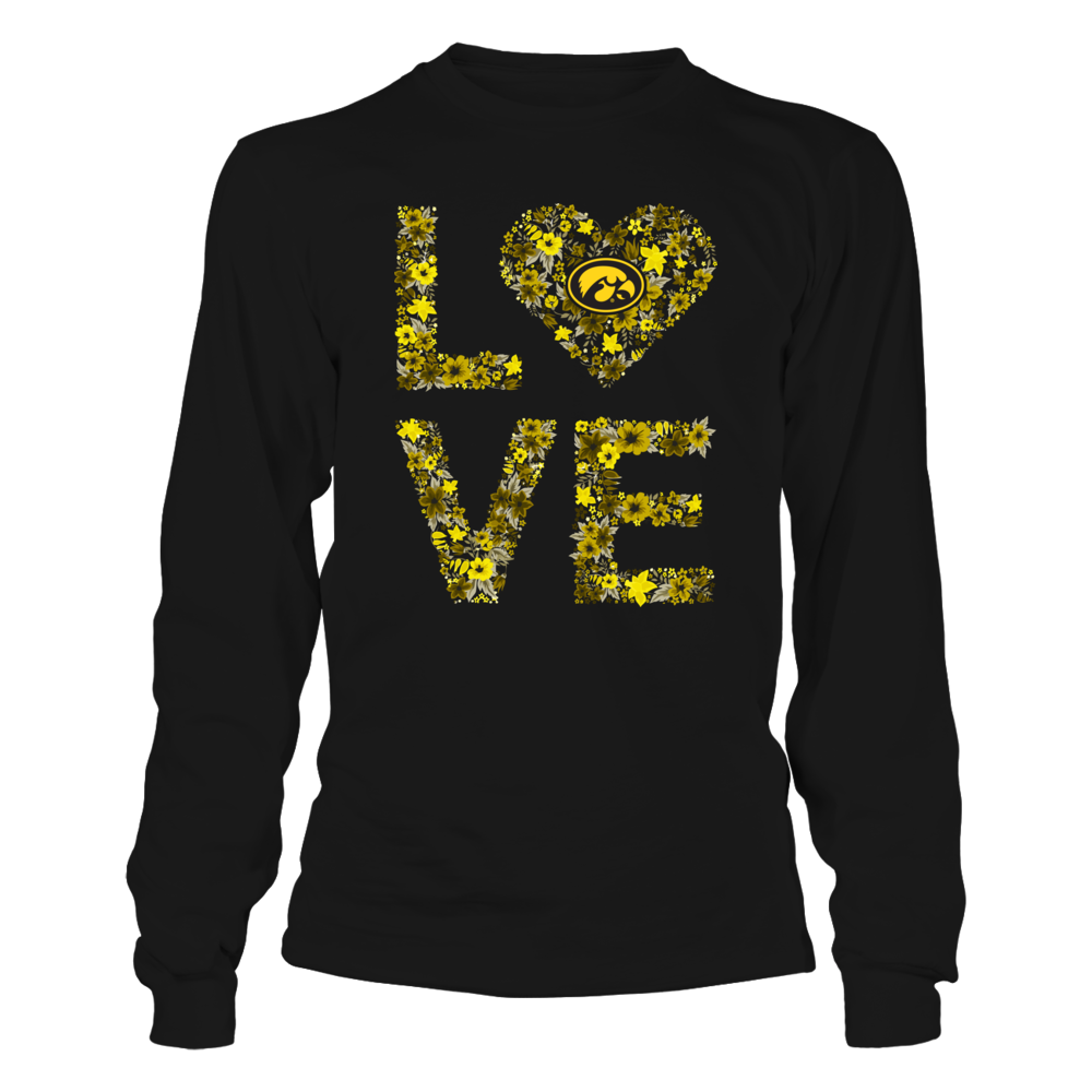 Iowa Hawkeyes - Love My Team - Floral Pattern Front picture