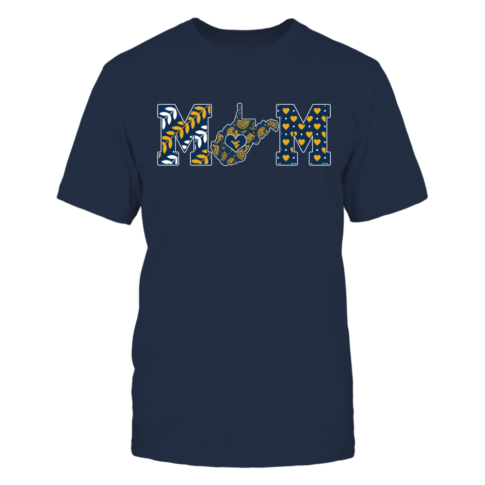 West Virginia Mountaineers - Mom - Paisley Pattern State Map Front picture