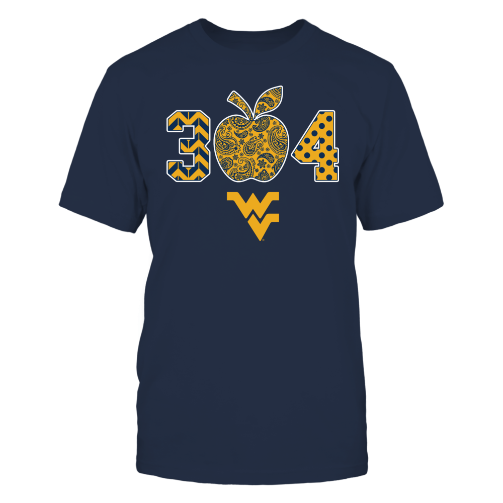 West Virginia Mountaineers - Teacher - Patterned Apple Area Code Front picture