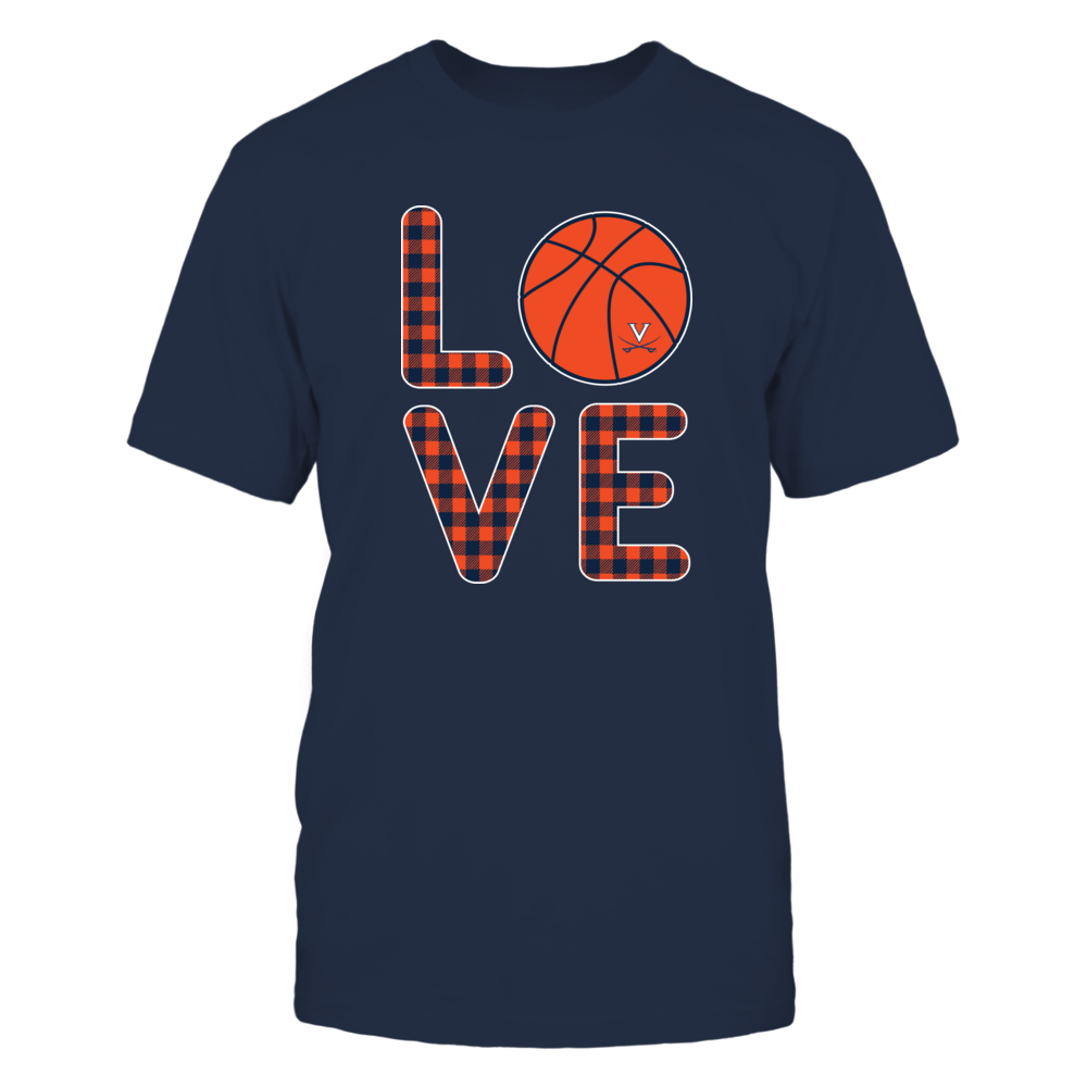 Virginia Cavaliers - Stacked Love Basketball - Checkered Pattern Front picture