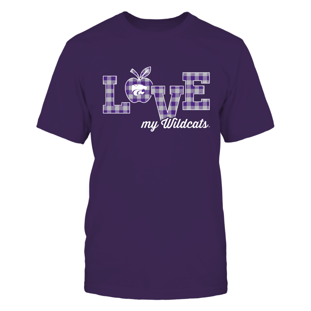 Kansas State Wildcats - Teacher - Love My Team - Checkered Pattern Front picture