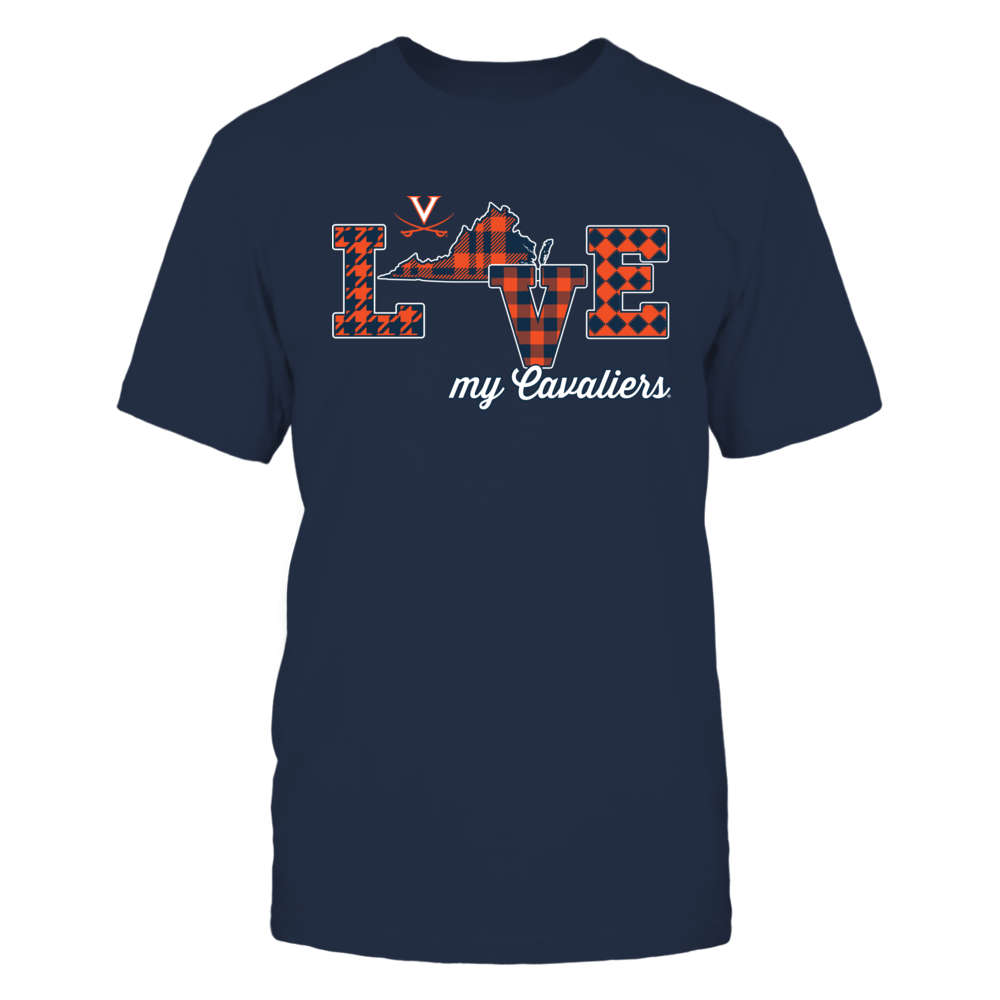 Virginia Cavaliers - Love My Team - State Map - Checkered Pattern Front picture