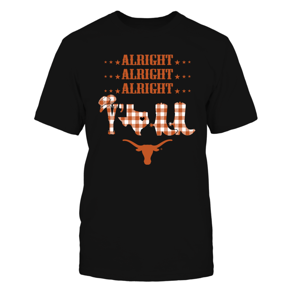 Texas Longhorns - Alright Alright Alright Y'all - Checkered Pattern Front picture