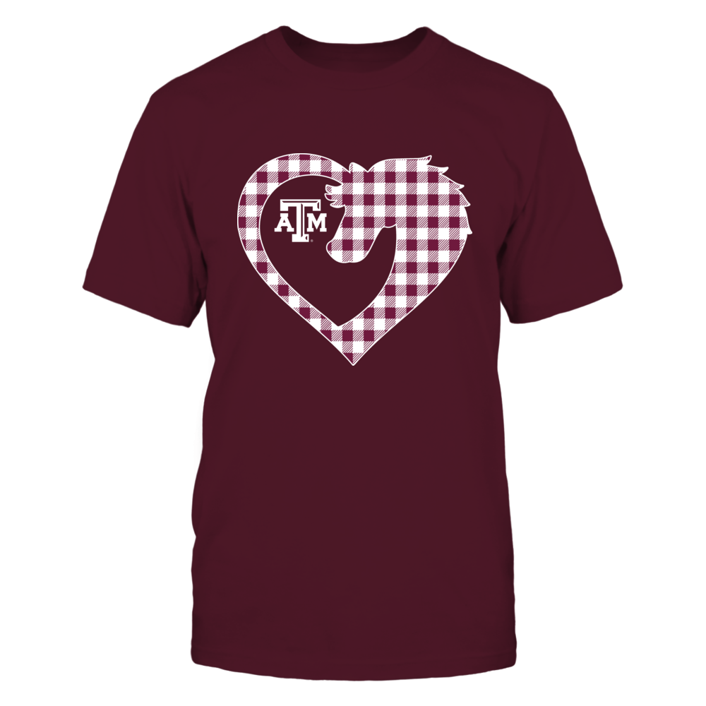 Texas A&M Aggies - Mascot Heart - Checkered Pattern Front picture