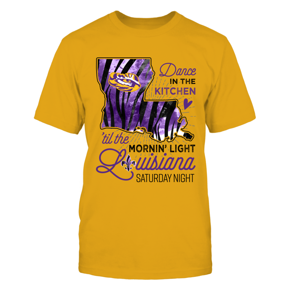 LSU Tigers - Louisiana Saturday Night - Tiger Stripe State Map - Gold Shirt - IF-IC13-DS75 Front picture
