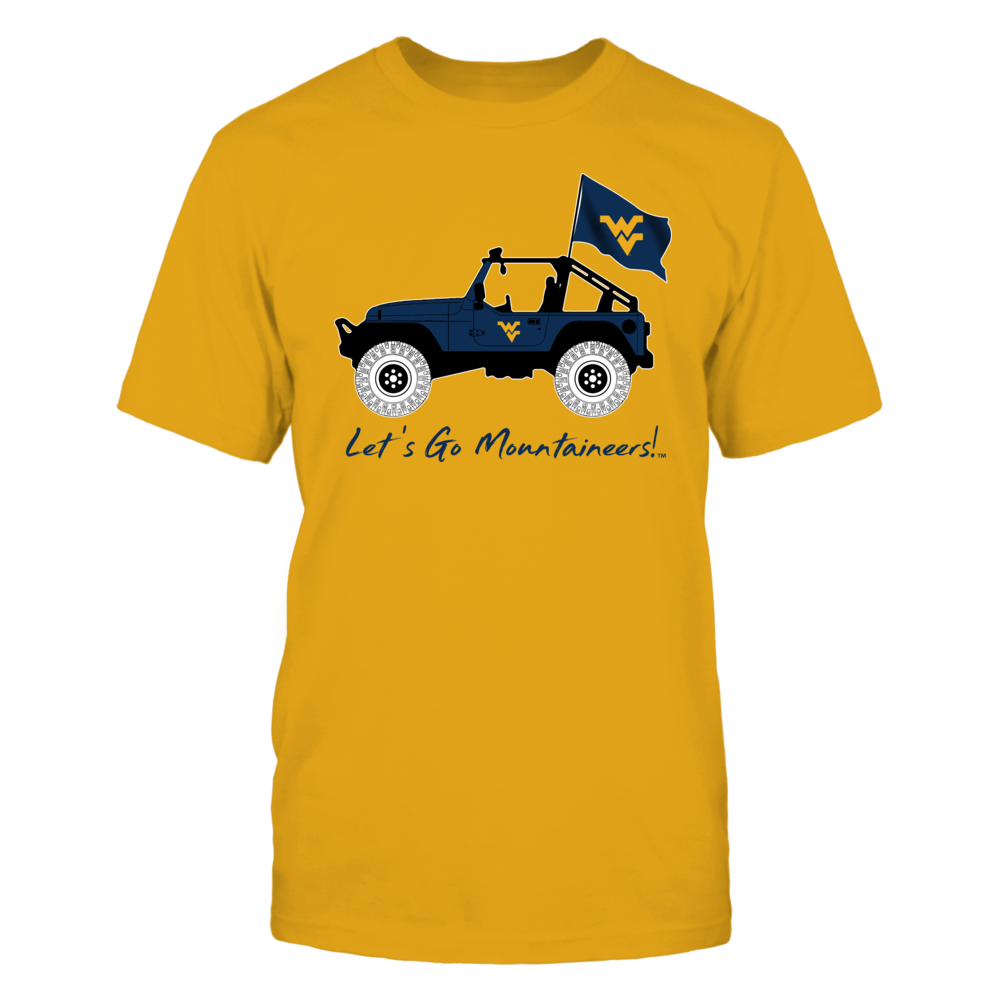 West Virginia Mountaineers - Jeep - Jeep Car - Gold Shirt Front picture