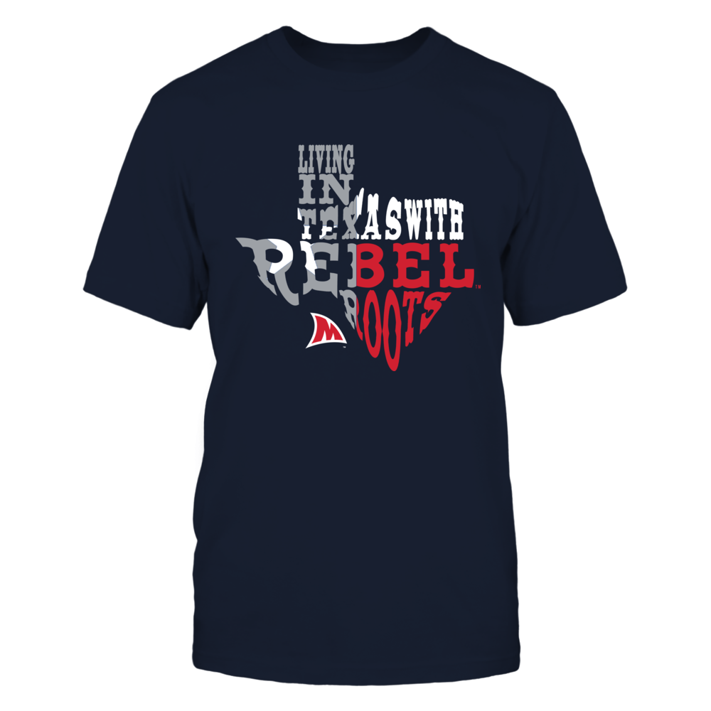 Ole Mis Rebels - Living Roots Inside State Map - Texas Front picture
