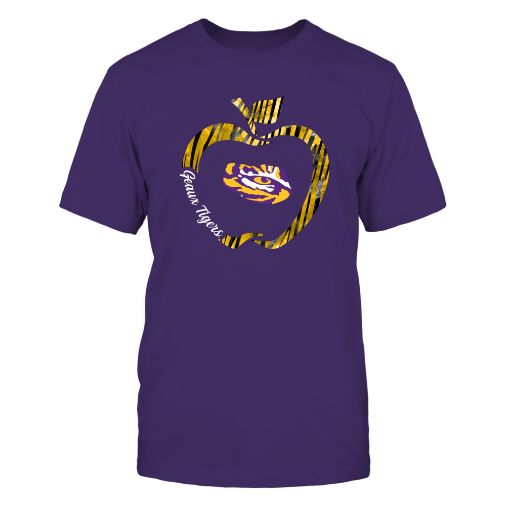 LSU Tigers - Teacher - Tiger Stripe Apple Outline Front picture