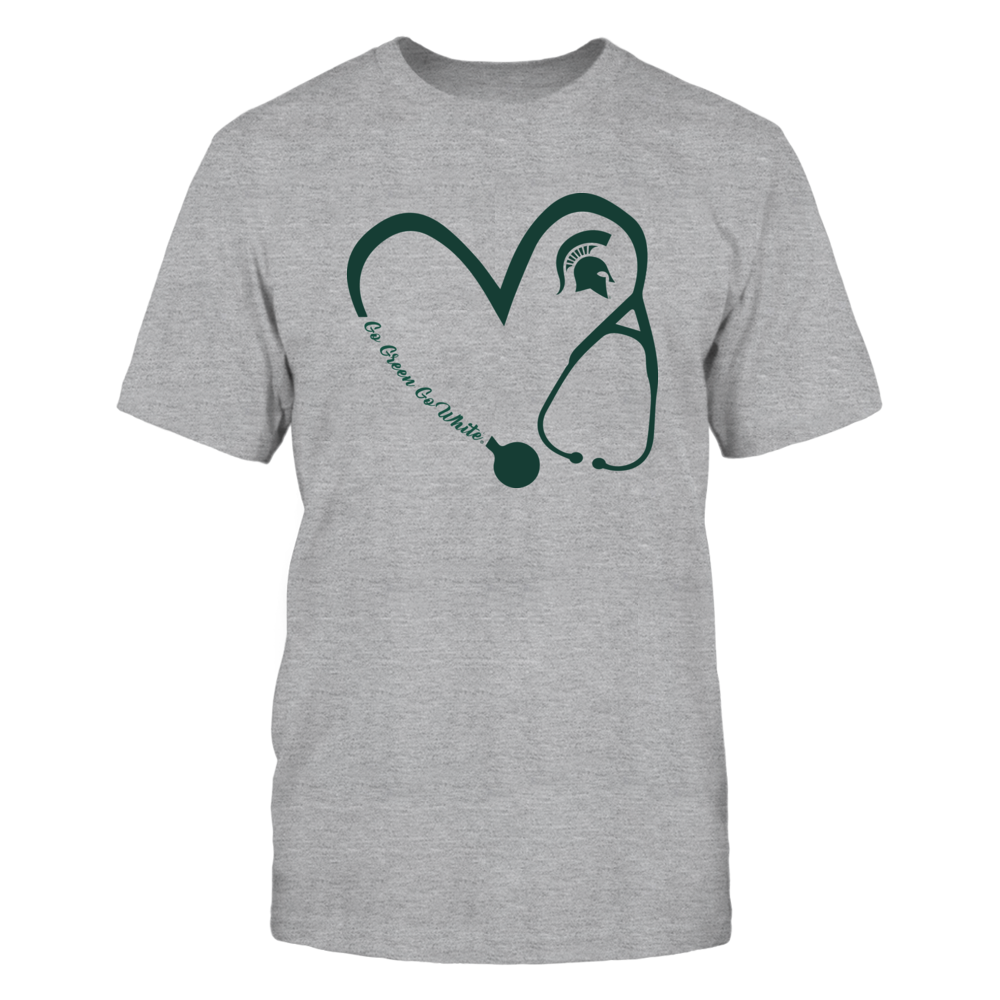 Michigan State Spartans - Heart 3/4 - Nurse - Grey Shirt Front picture