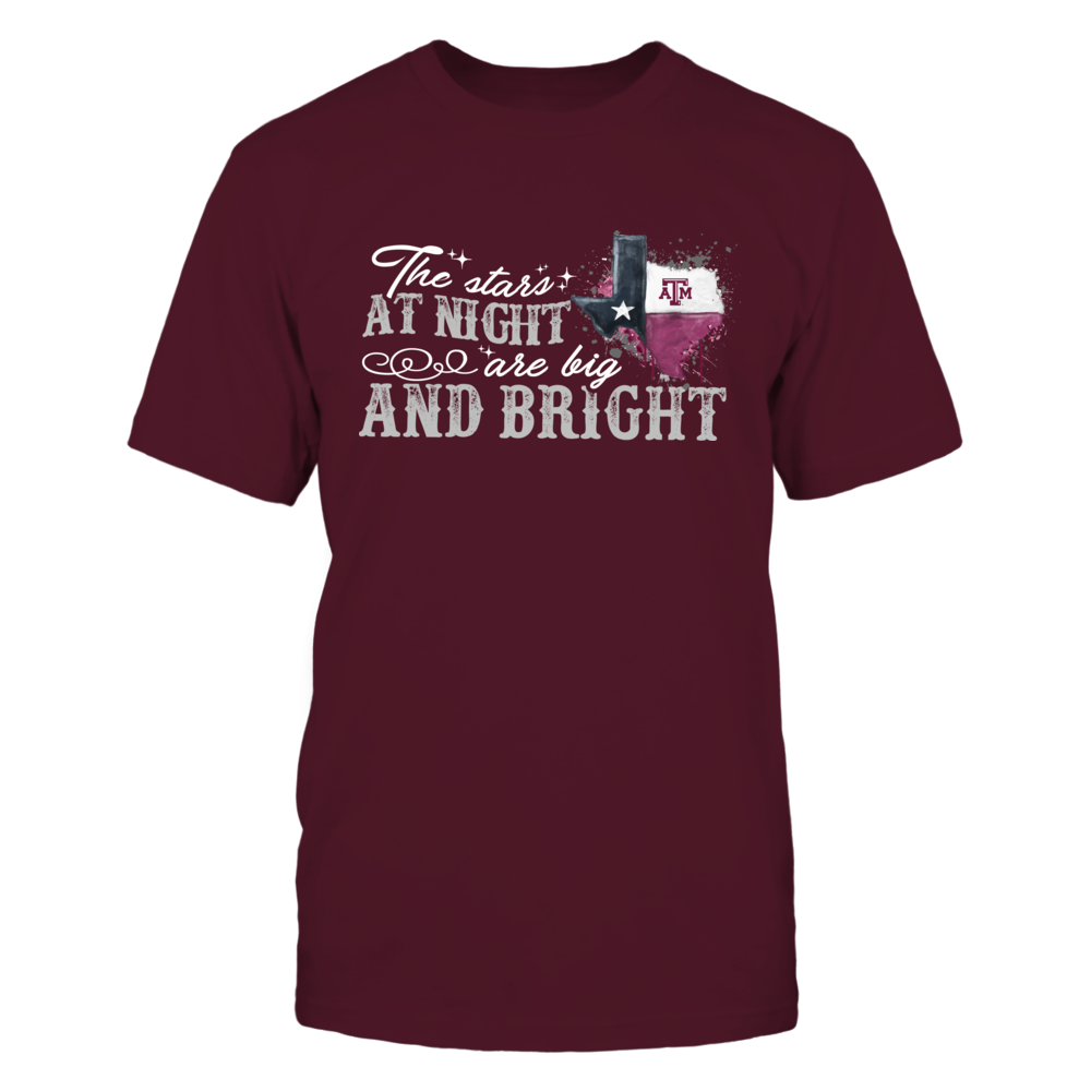 Texas A&M Aggies - The Stars At Night - Color Drop State Map Front picture