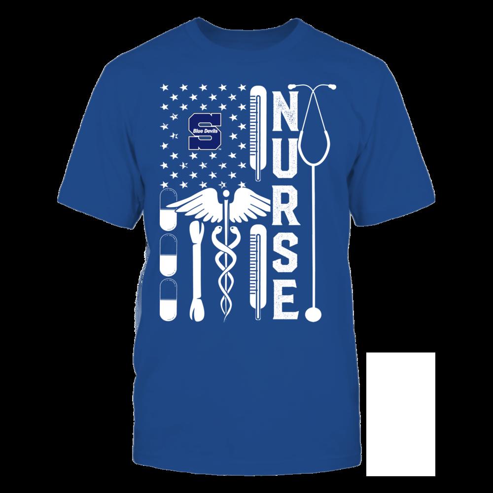 Wisconsin Stout Blue Devils - Flag Shirt - Nurse Front picture