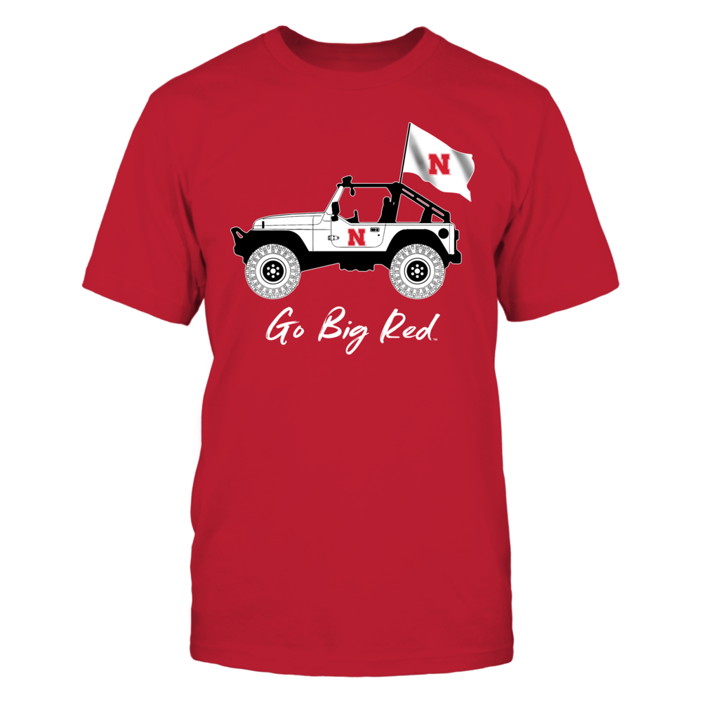 Nebraska Cornhuskers - Jeep - Jeep Car - Red Shirt - IF-IC13-DS45 Front picture