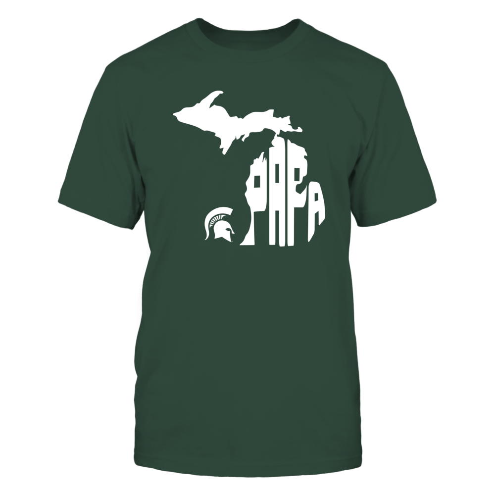 Michigan State Spartans - Papa Inside State Map Front picture
