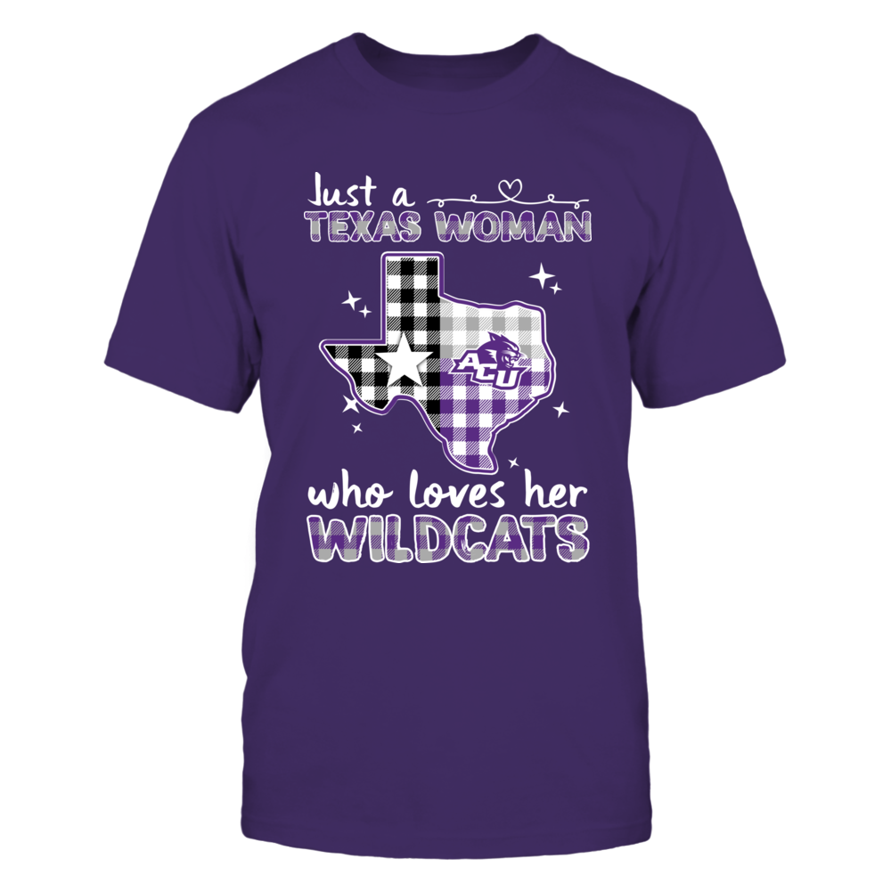 Abilene Christian Wildcats - Just A Woman - Checkered Pattern State Map Front picture