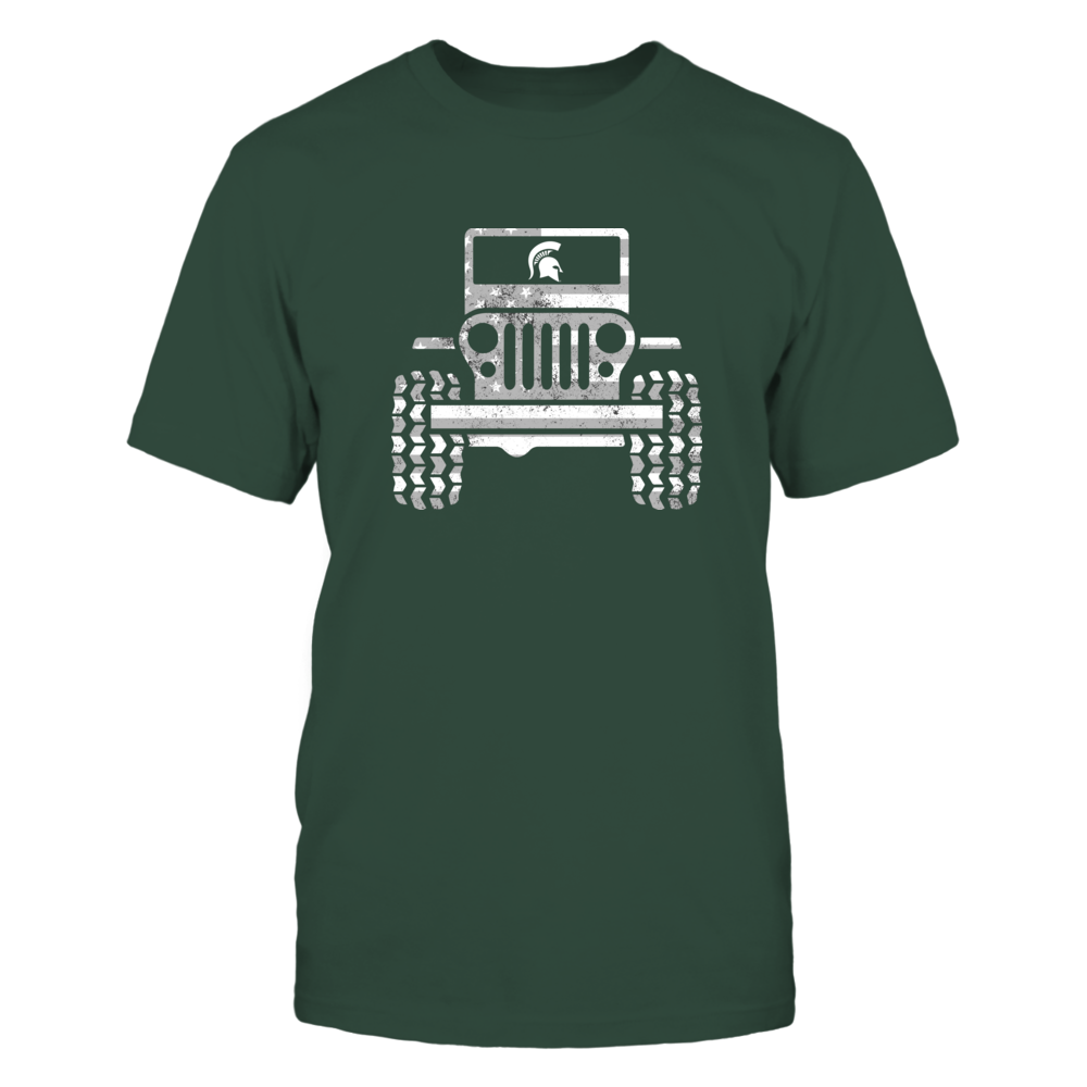 Michigan State Spartans - Jeep - Nation Flag Jeep Car Front picture