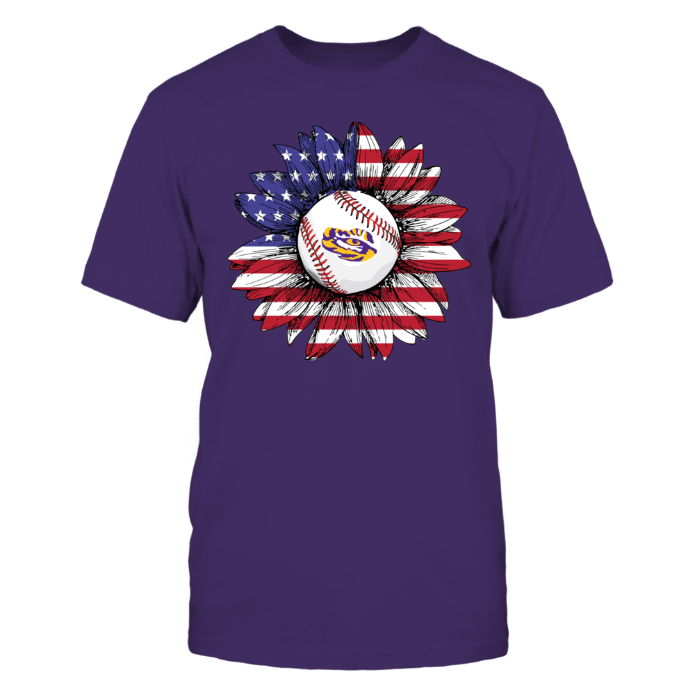 LSU Tigers - Independence Day - Nation Flag Pattern Sunflower Baseball Front picture