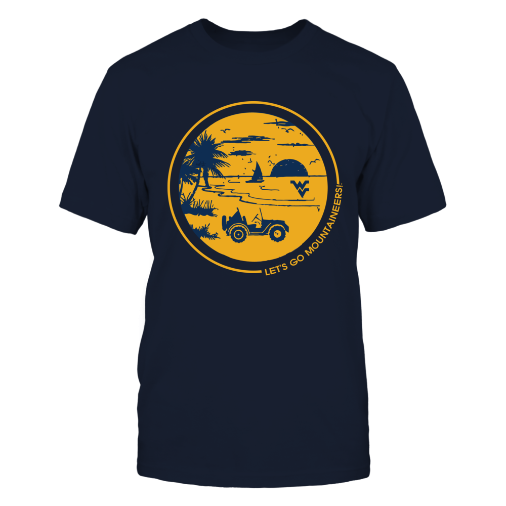 West Virginia Mountaineers - Jeep - Round Beach Scenery Front picture