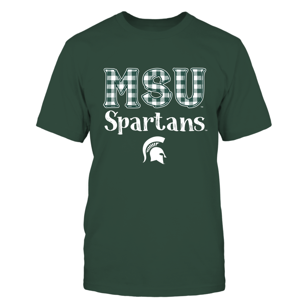 Michigan State Spartans - Team Name - Checkered Pattern Front picture