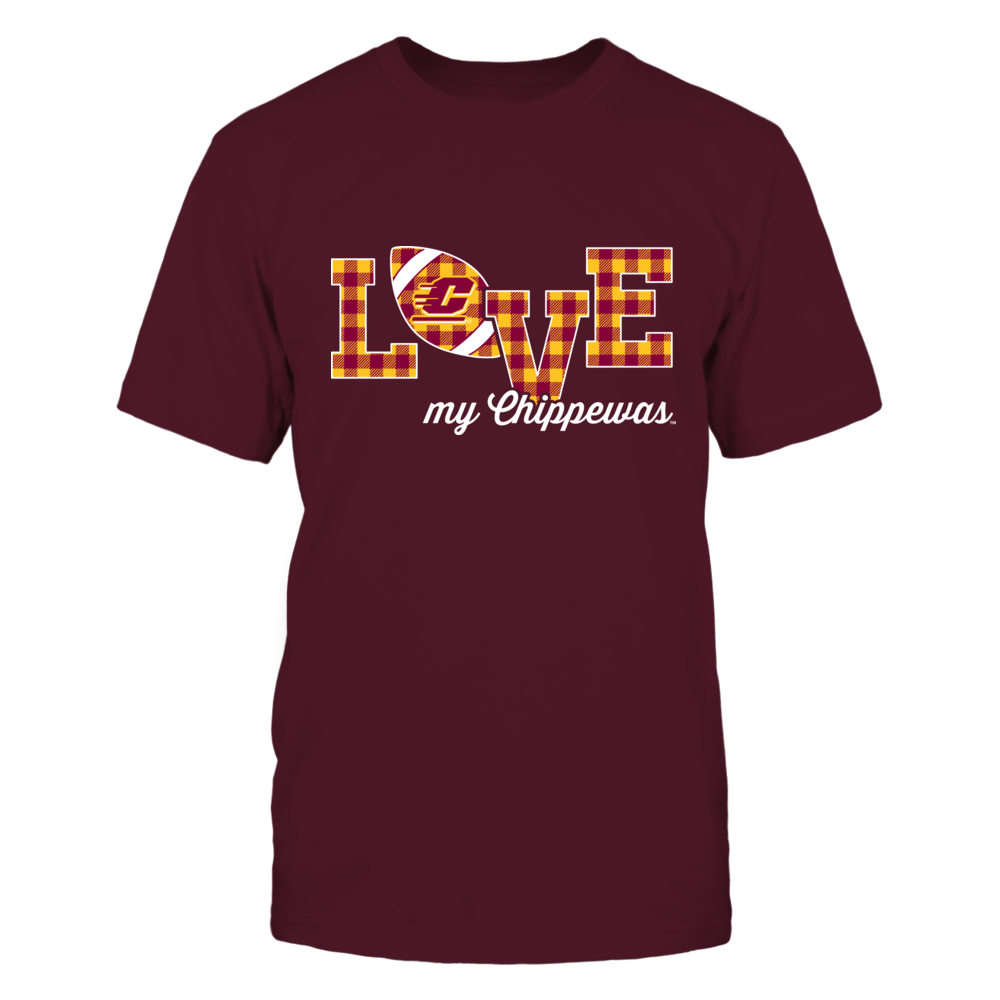 Central Michigan Chippewas - Love My Team - Football - Checked Patternfootball Front picture