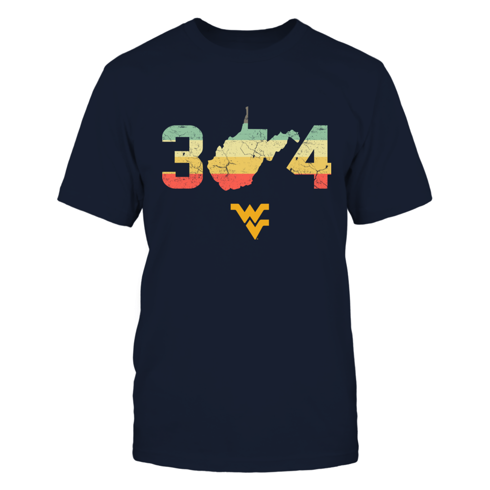 West Virginia Mountaineers - Area Code State Map Vintage Graphic Front picture