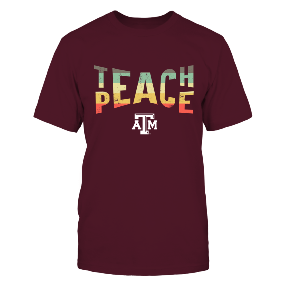 Texas A&M Aggies - Teacher - Teach And Peace Vintage Graphic Front picture