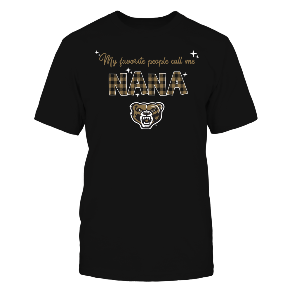Oakland Golden Grizzlies - My Favorite People Call Me Nana - Checkered Pattern Front picture