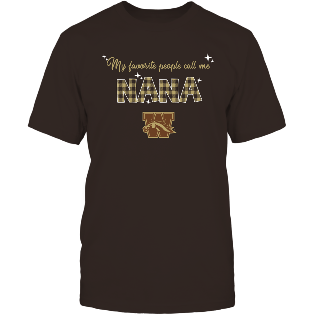 Western Michigan Broncos - My Favorite People Call Me Nana - Checkered Pattern Front picture