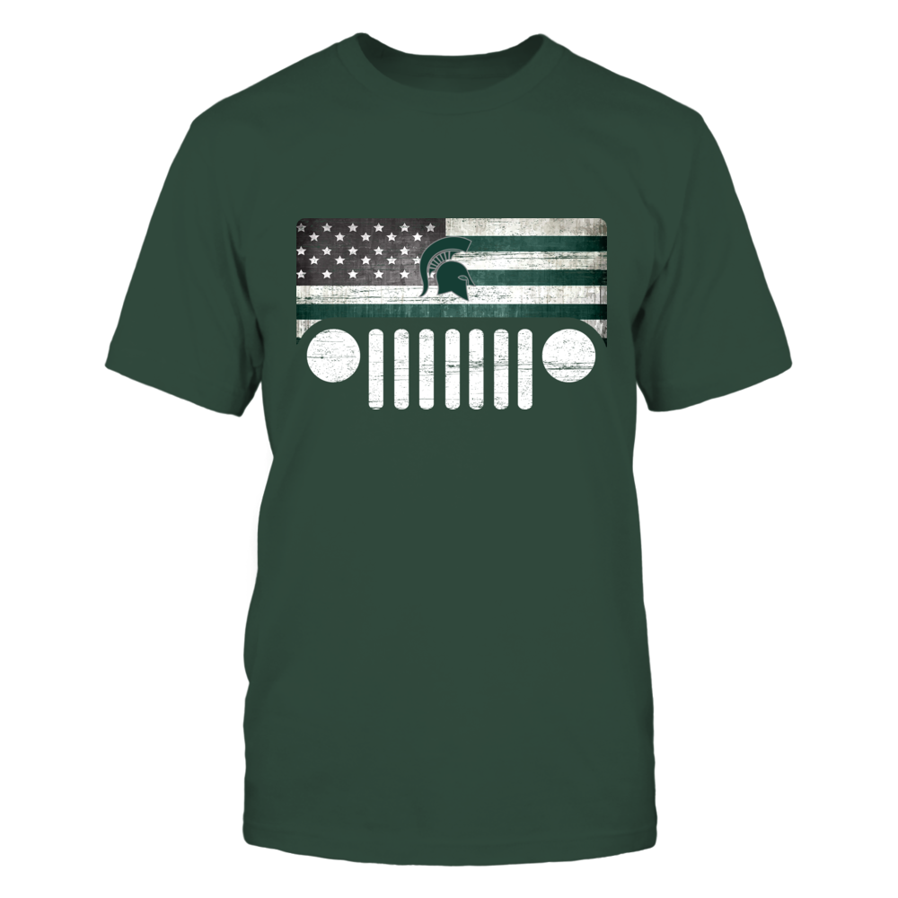 Michigan State Spartans - Jeep - Jeep Logo - Nation Flag Front picture