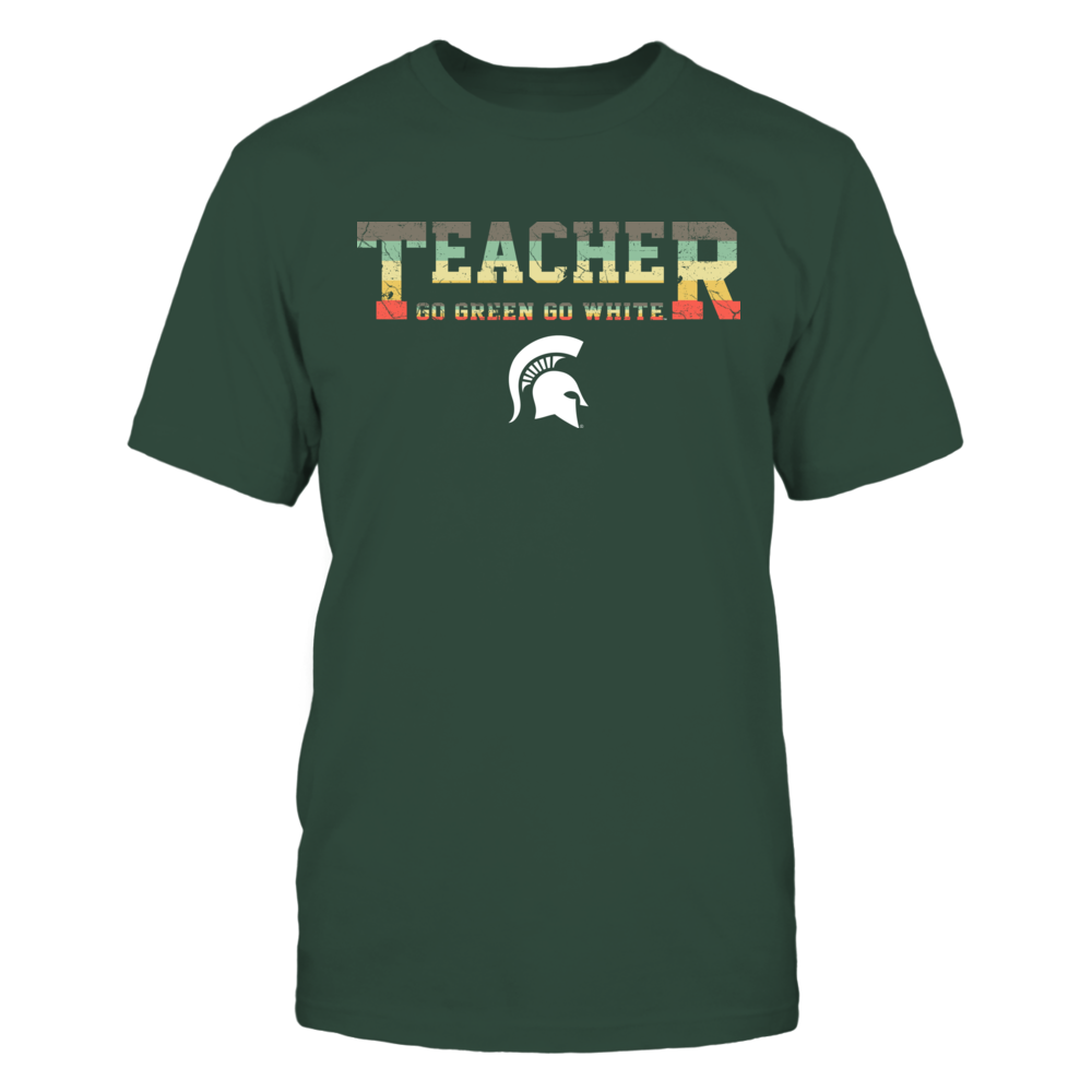 Michigan State Spartans - Teacher - Two Lines - Vintage Graphic Patterned - Slogan Front picture