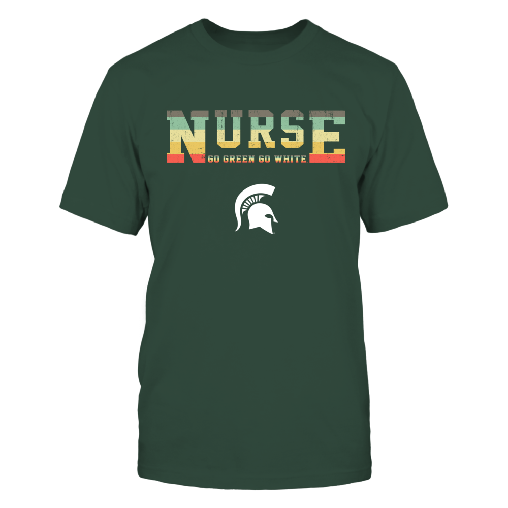 Michigan State Spartans - Nurse - Two Lines - Vintage Graphic Patterned - Slogan Front picture
