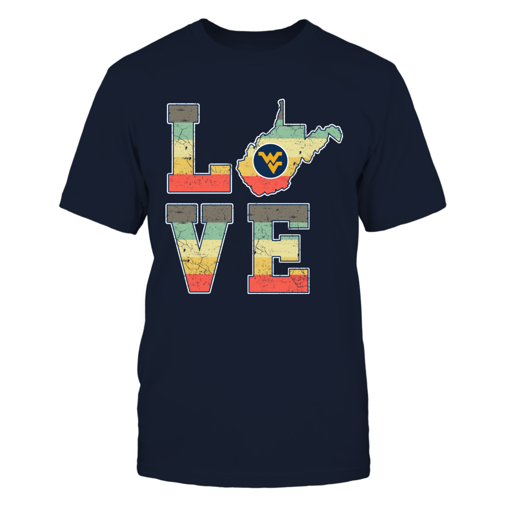 West Virginia Mountaineers - Stacked Love - State Map - Vintage Graphic Front picture