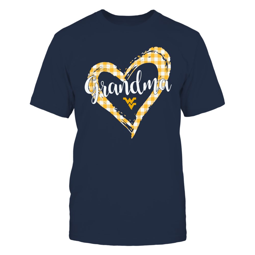 West Virginia Mountaineers - Checkered Heart Outline - Grandma Front picture