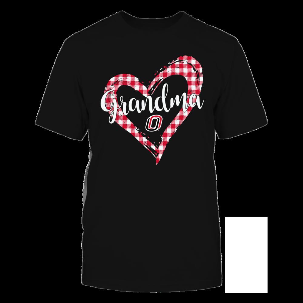 Nebraska Omaha Mavericks - Checkered Heart Outline - Grandma Front picture