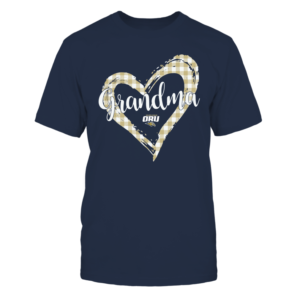 Oral Roberts Golden Eagles - Checkered Heart Outline - Grandma Front picture