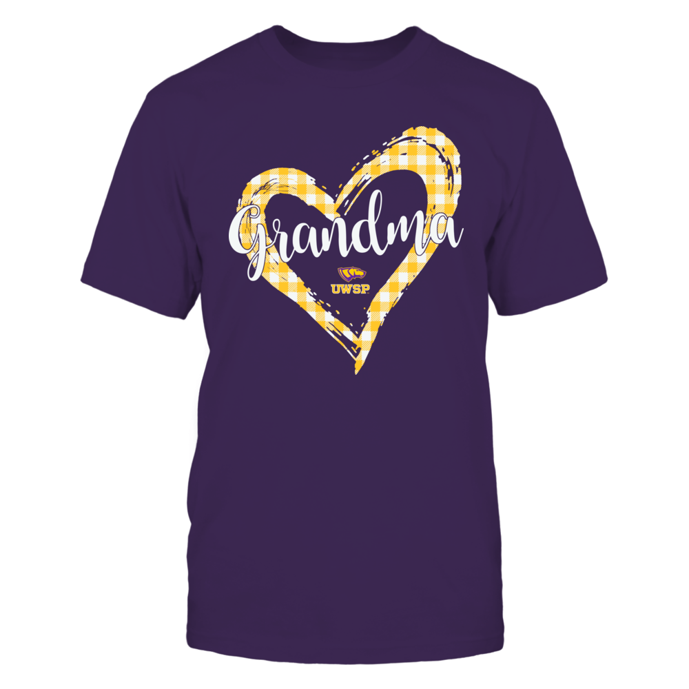 Wisconsin-Stevens Point Pointers - Checkered Heart Outline - Grandma Front picture