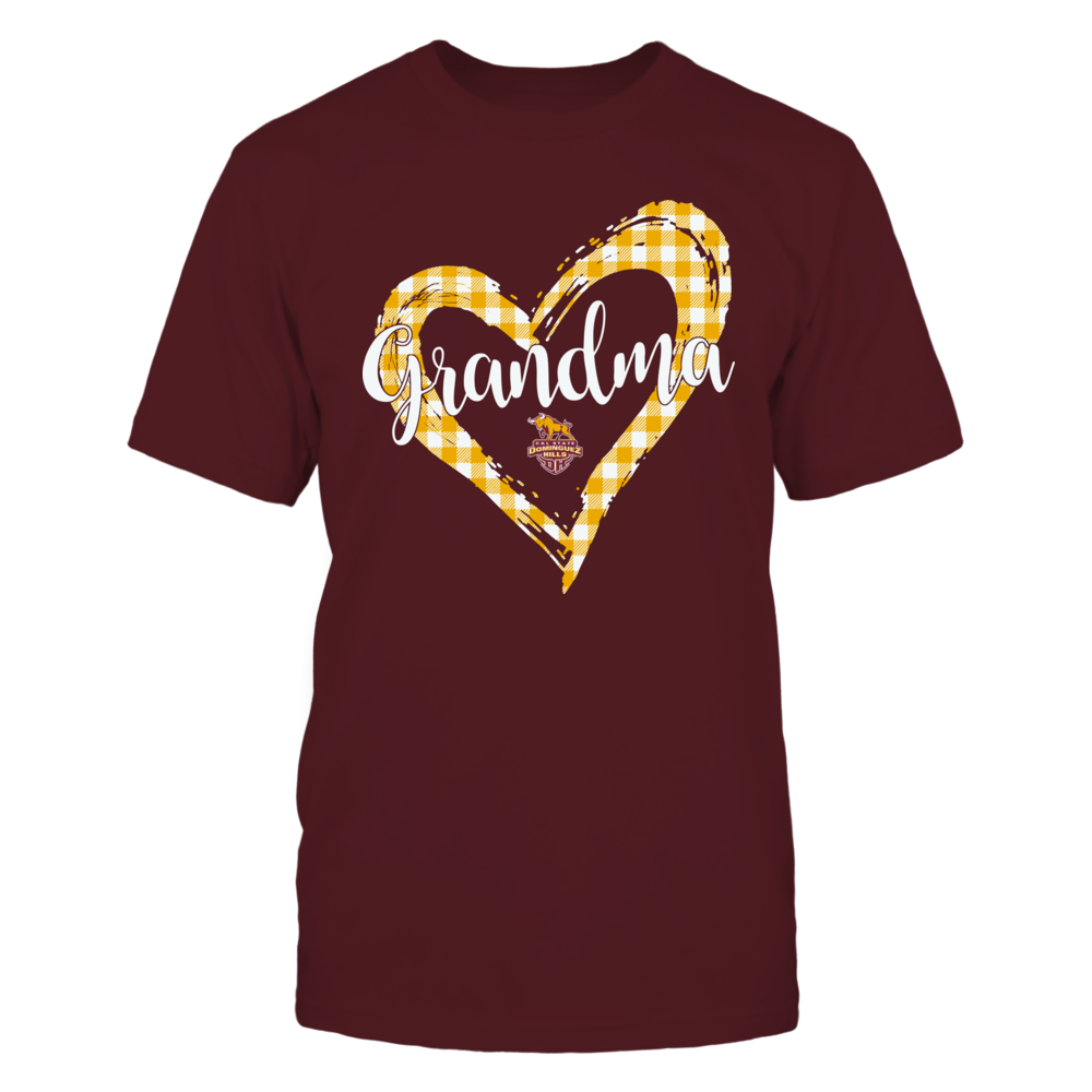 Cal State Dominguez Hills Toros - Checkered Heart Outline - Grandma Front picture