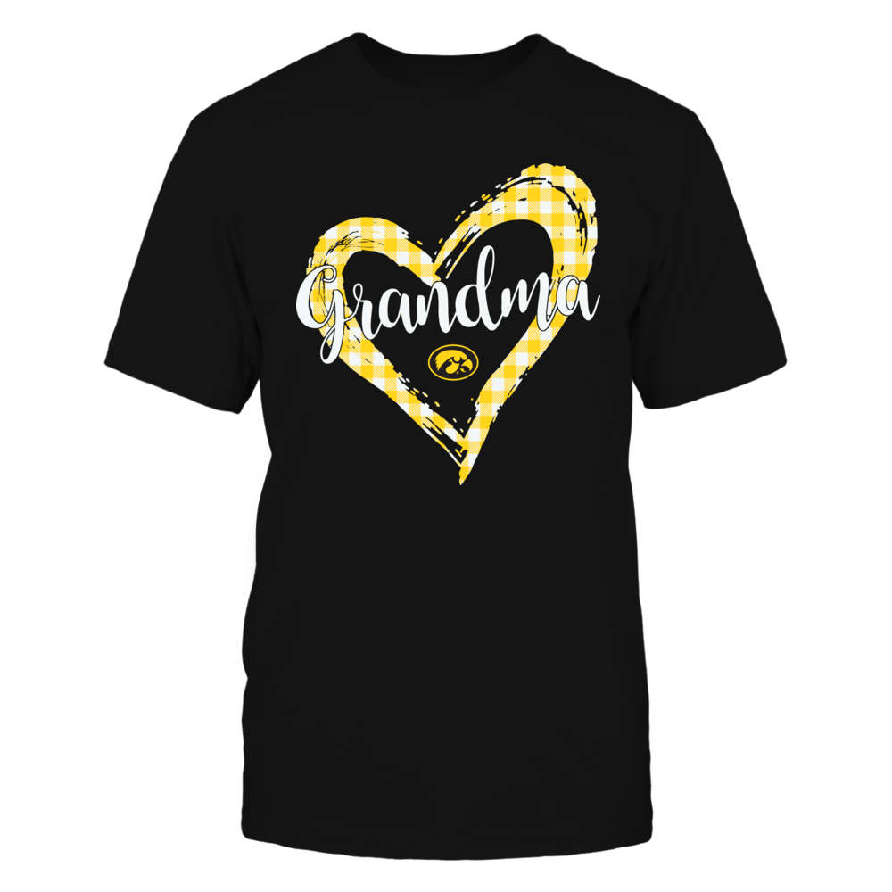 Iowa Hawkeyes - Checkered Heart Outline - Grandma Front picture