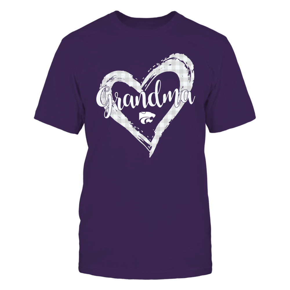 Kansas State Wildcats - Checkered Heart Outline - Grandma Front picture