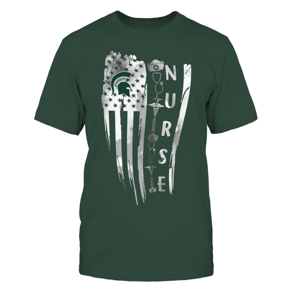 Michigan State Spartans - Nurse - Distressed Flag - Teacher Things - IF13-IC13-DS63 Front picture