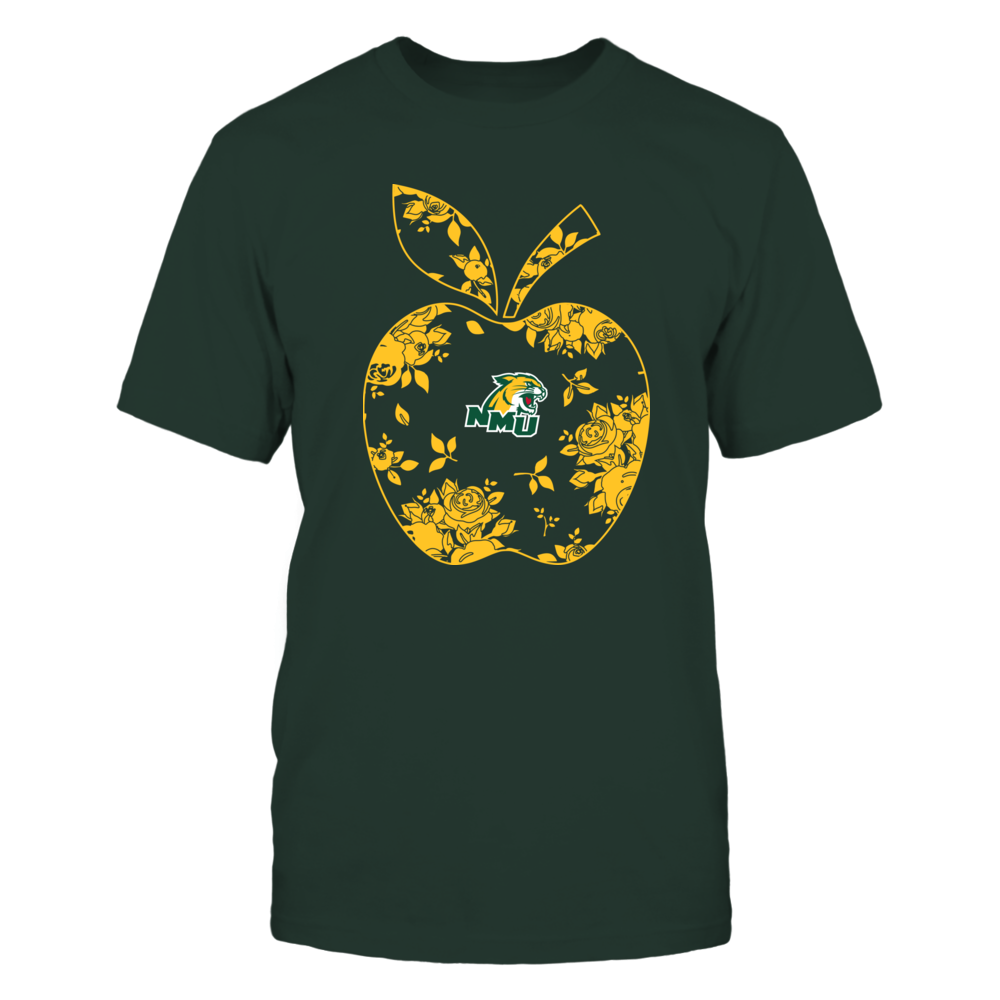 Northern Michigan Wildcats - Teacher - Floral Apple - Team - Solid Front picture