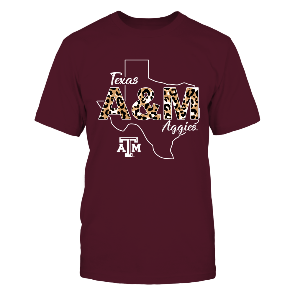 Texas A&M Aggies - Leopard Pattern Team Name - State Outline - IF-IC13-DS27 Front picture