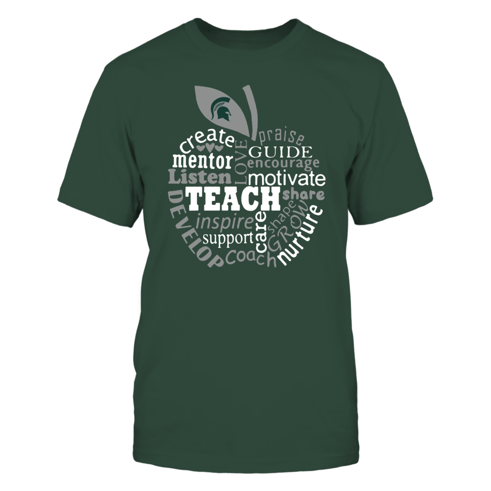 Michigan State Spartans - Teacher - Teaching Quotes Inside Apple - IF13-IC13-DS27 Front picture
