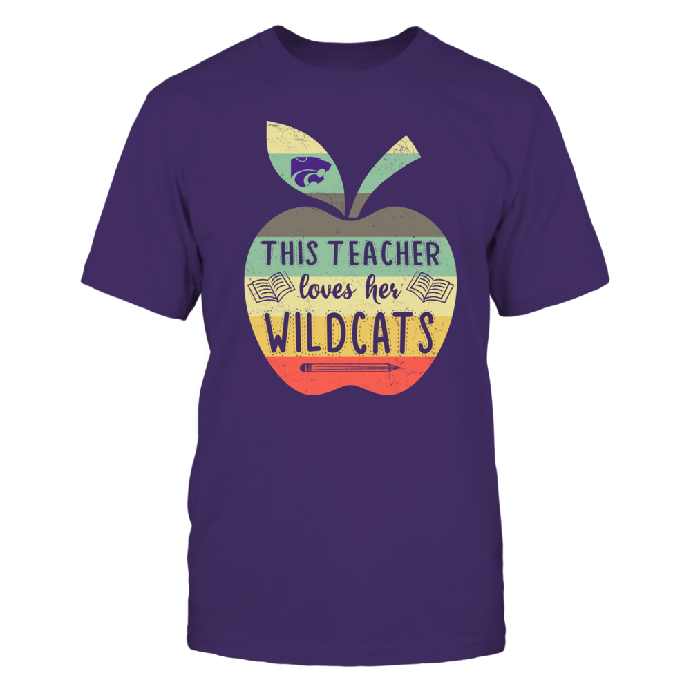 Kansas State Wildcats - This Teacher Loves Her Team - Apple Vintage Graphic - IF17-IC17-DS45 Front picture