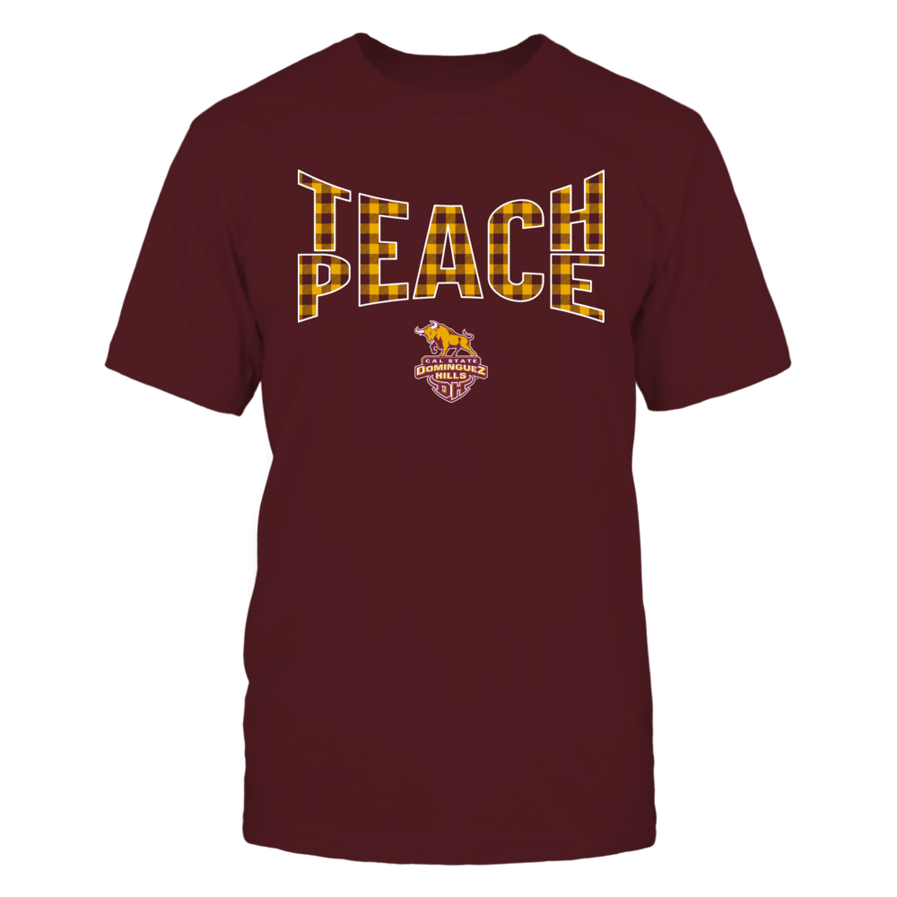 Cal State Dominguez Hills Toros - Teach Peace Checkered Pattern Front picture