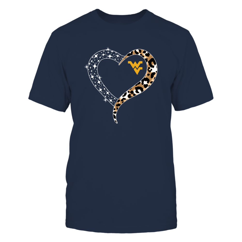 West Virginia Mountaineers - Half Heart - Leopard Pattern - IF13-IC13-DS64 Front picture