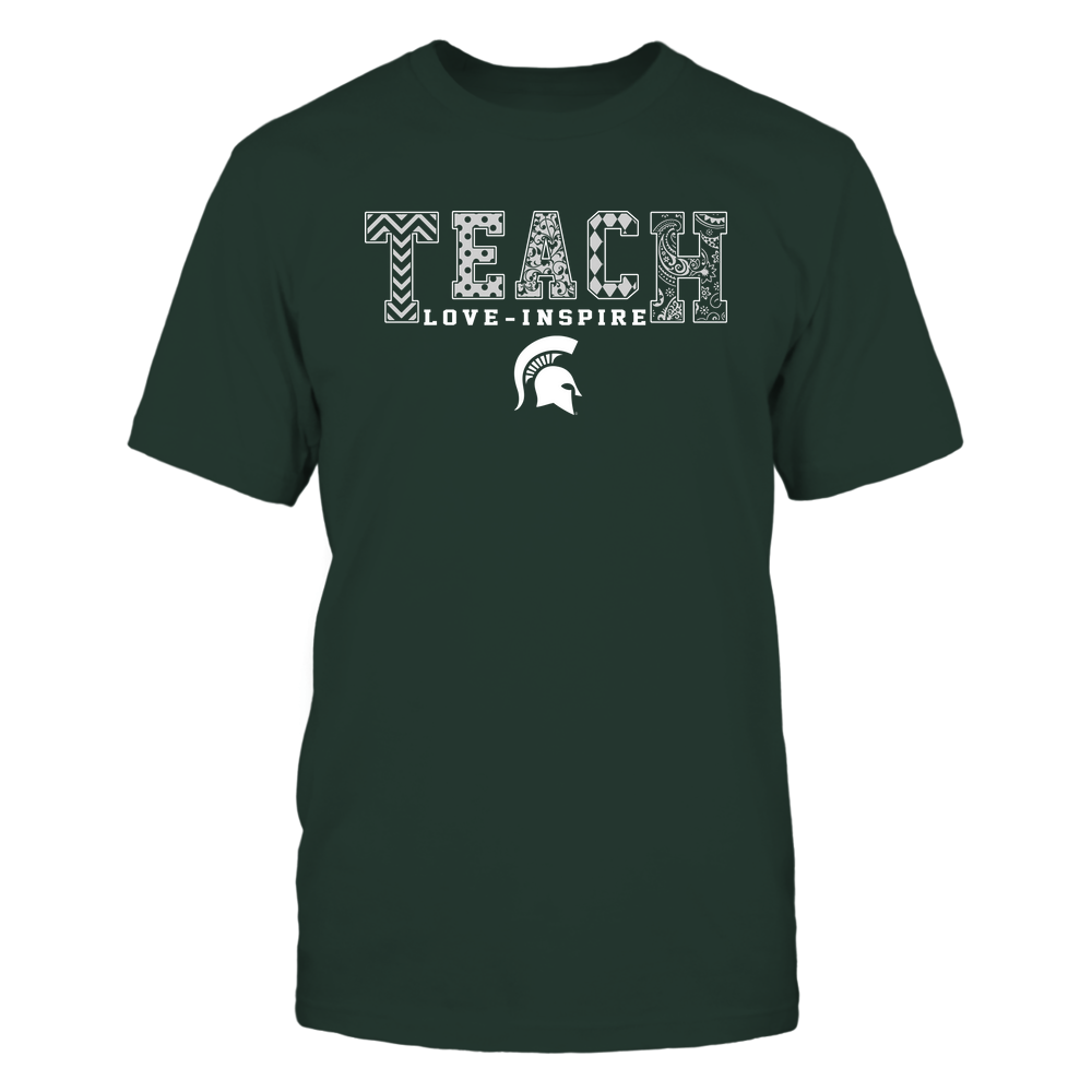 Michigan State Spartans - 19082210336 - Teach Love Inspire - Slogan Pattern - IF17-IC17-DS27 Front picture
